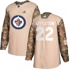 Mason Appleton Youth Adidas Winnipeg Jets Authentic Camo Veterans Day Practice Jersey
